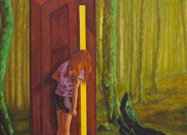 Juan Antonio Mañas - Coraline-y-la-puerta-en-el-bosque-30x30cm-2012