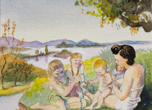 Brigitte Szenczi - Maternidad - 12 x 12 cm Acuarela sobre papel 2014